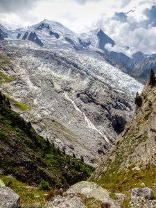 """""""Vue sur le Glaciers des Bossons dans la descente de la Gare des """" · Alpes, Massif du Mont-Blanc, Vallée de Chamonix, FR · GPS 45°53'23.03'' N 6°52'18.61'' E · Altitude 2284m"""
