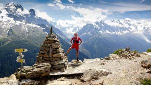La Tête aux Vents, la dernière difficulté pendant l'UTMB, l'intégralité du massif du Mont-Blanc derrière · Alpes, Aiguilles Rouges, Vallée de Chamonix, FR · GPS 45°58'56.92'' N 6°54'23.49'' E · Altitude 2108m