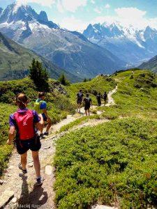 Descente de l'Aiguillette des Posettes avec la vue sur le massif du Mont-Blanc · Alpes, Massif du Mont-Blanc, Vallée de Chamonix, FR · GPS 46°1'0.20'' N 6°56'21.38'' E · Altitude 2122m