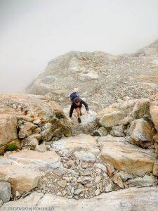 Dans la montée au bivouac Gino Rainetto · Alpes, Massif du Mont-Blanc, Val Vény, IT · GPS 45°47'4.92'' N 6°50'33.24'' E · Altitude 2815m